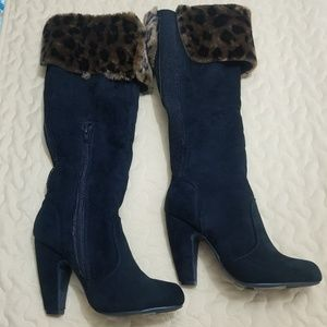 Leopard print knee high boots for women!